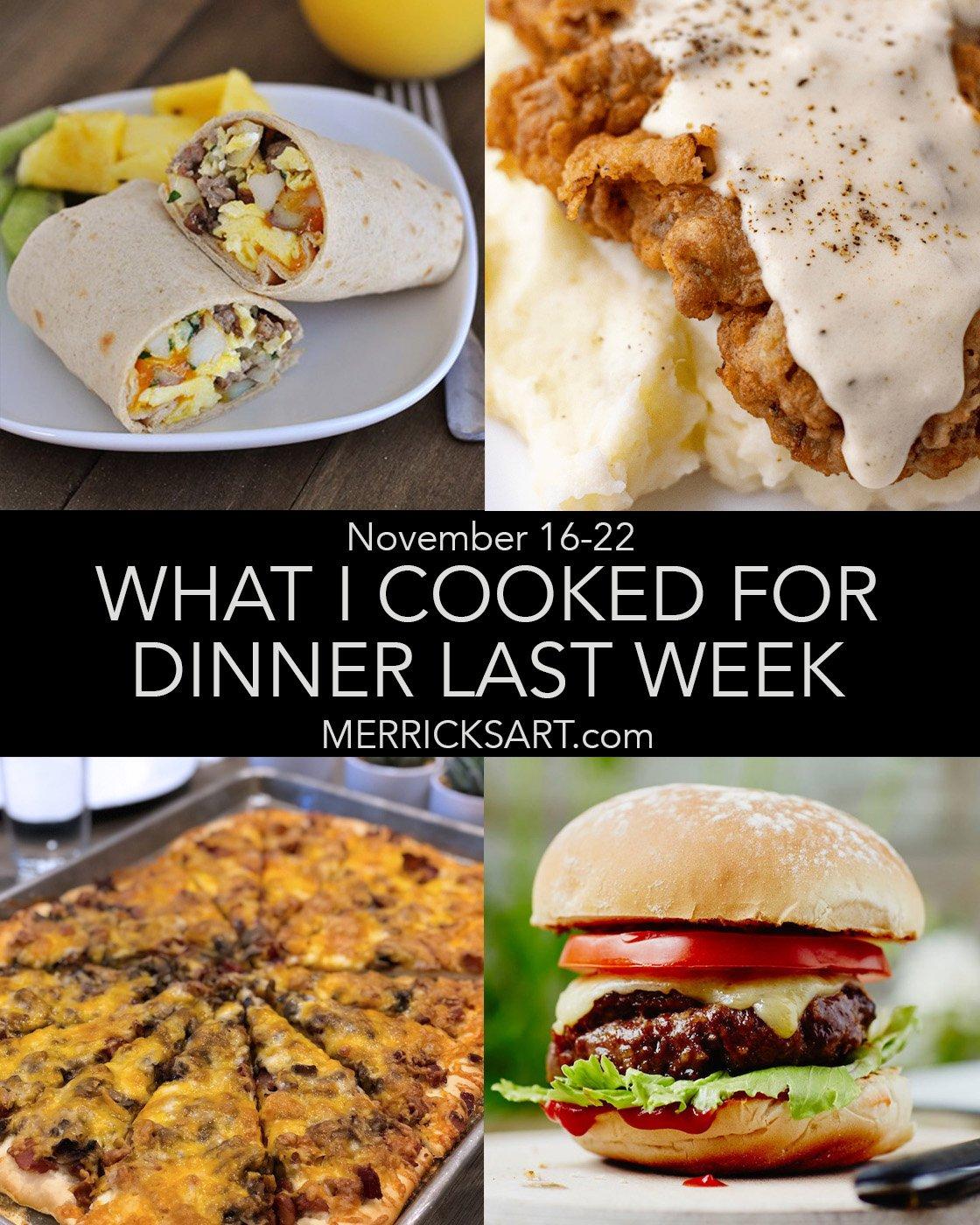 November 22 weekly menu