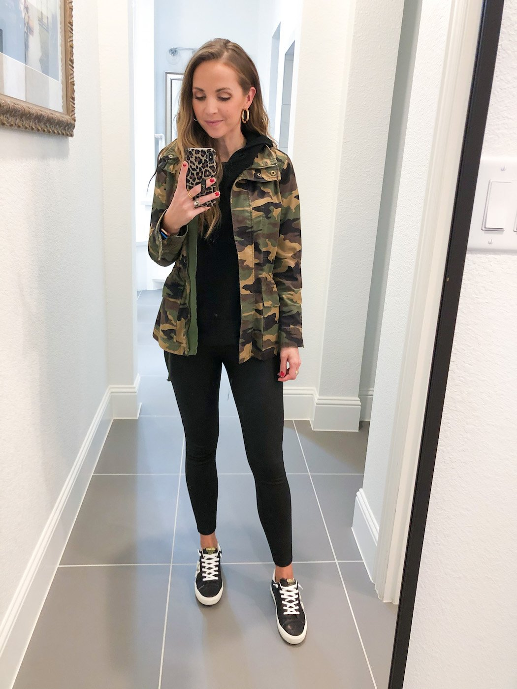 leather leggings with camouflage jacket