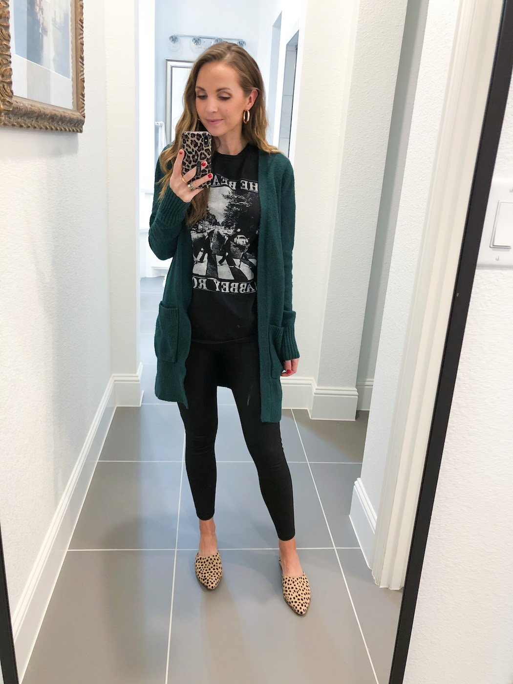 leather leggings outfits with cardigan