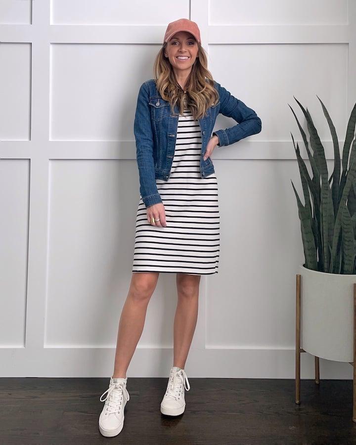 baseball cap with striped dress