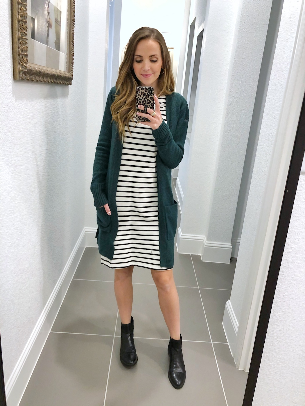 how to wear a cardigan with a dress and boots