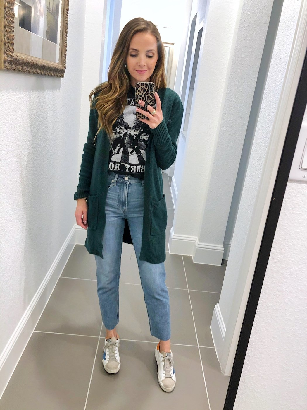 cardigan outfits with mom jeans and graphic tee