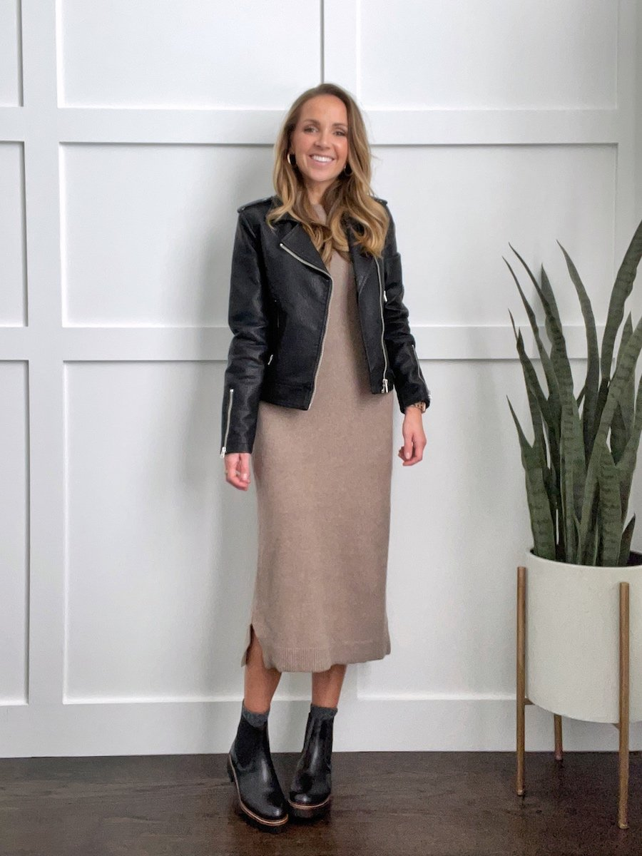 chelsea boots outfit with sweater dress