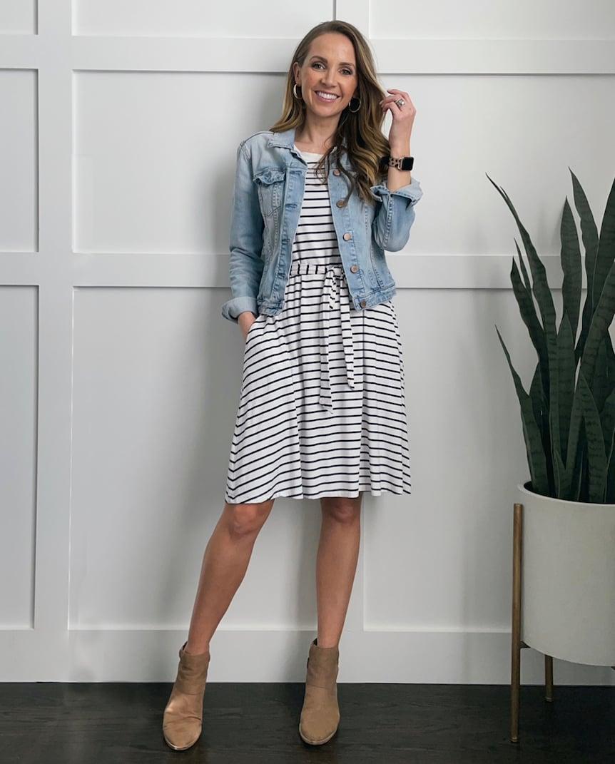 denim jacket with striped dress