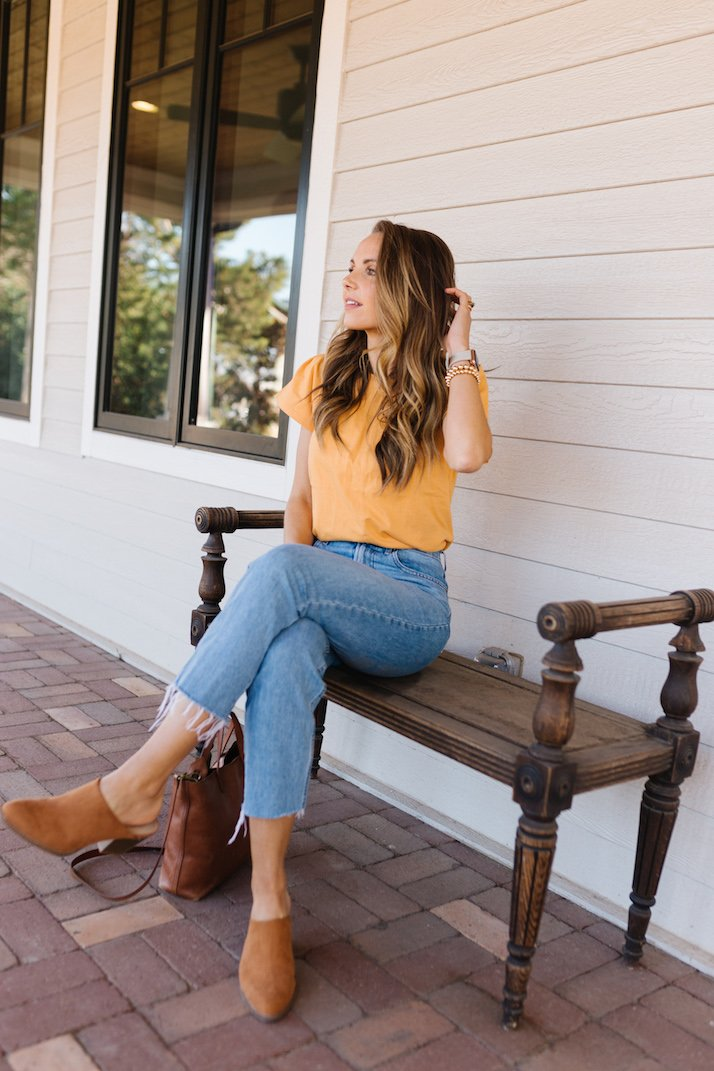 free assembly flutter sleeve top yellow