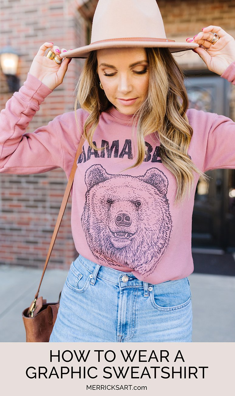 how to wear a graphic sweatshirt outfit