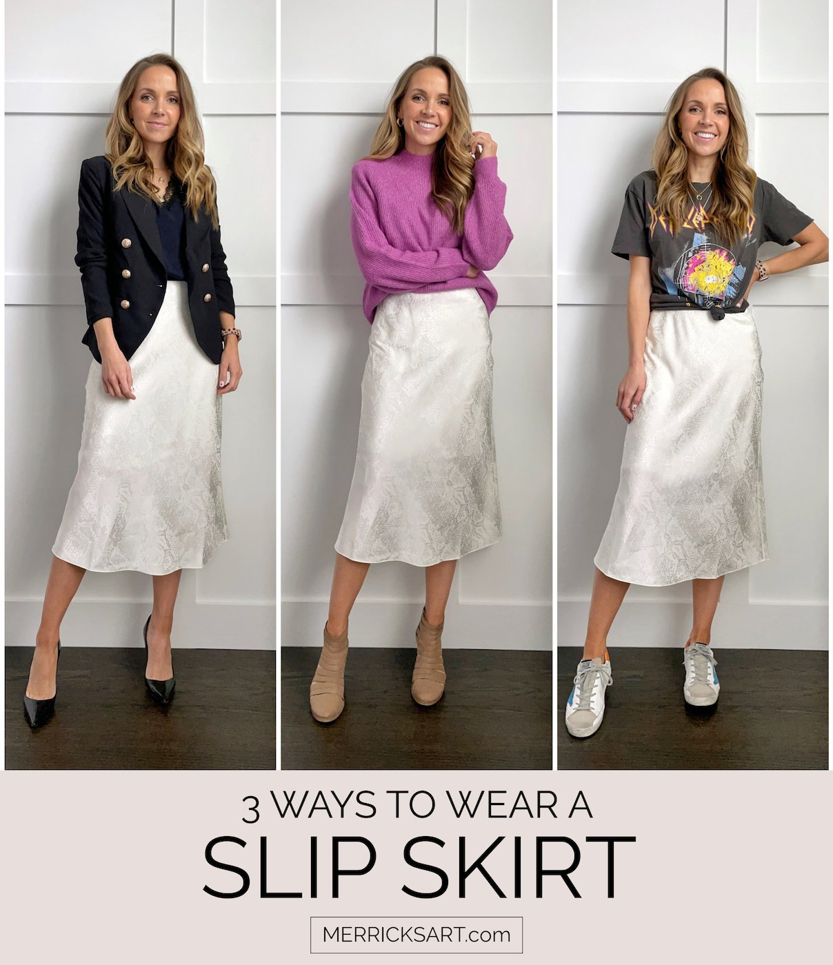 three ways to wear a slip skirt