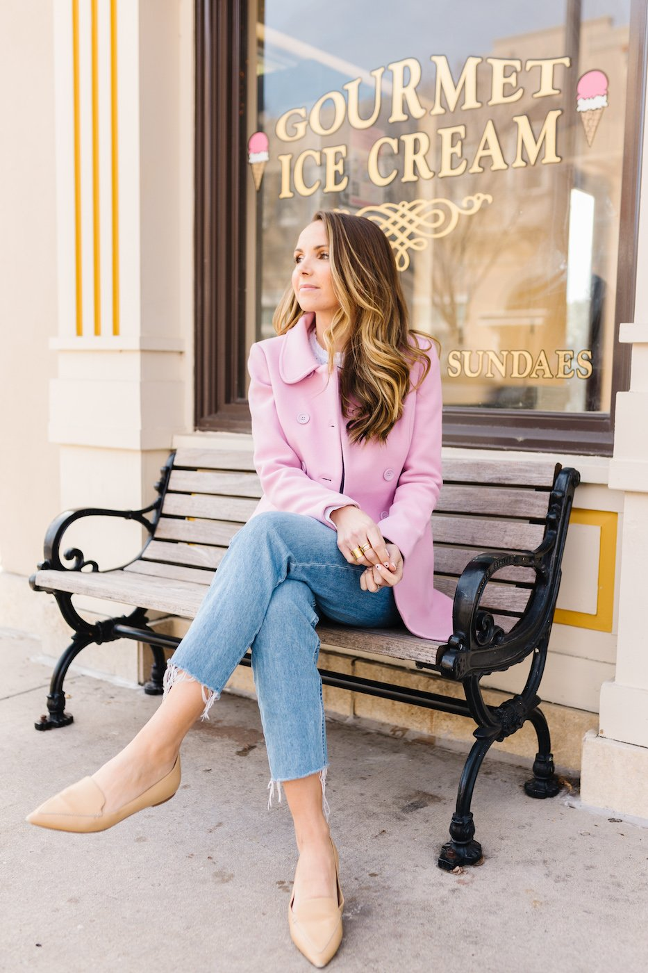 lilac peacoat for Valentine's Day Outfit
