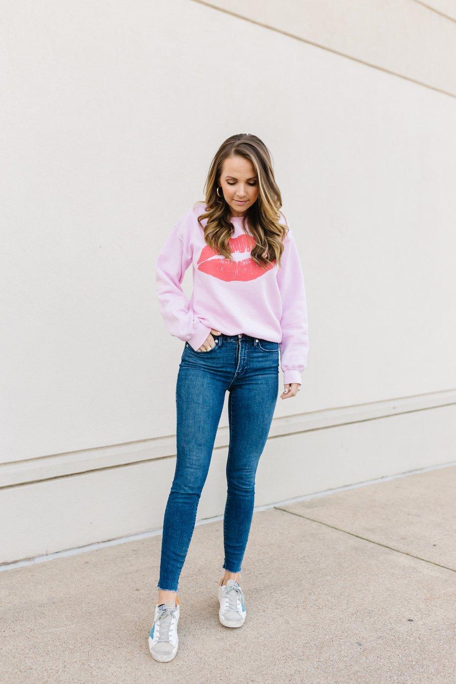 lips sweatshirt - Valentine's Day outfit ideas