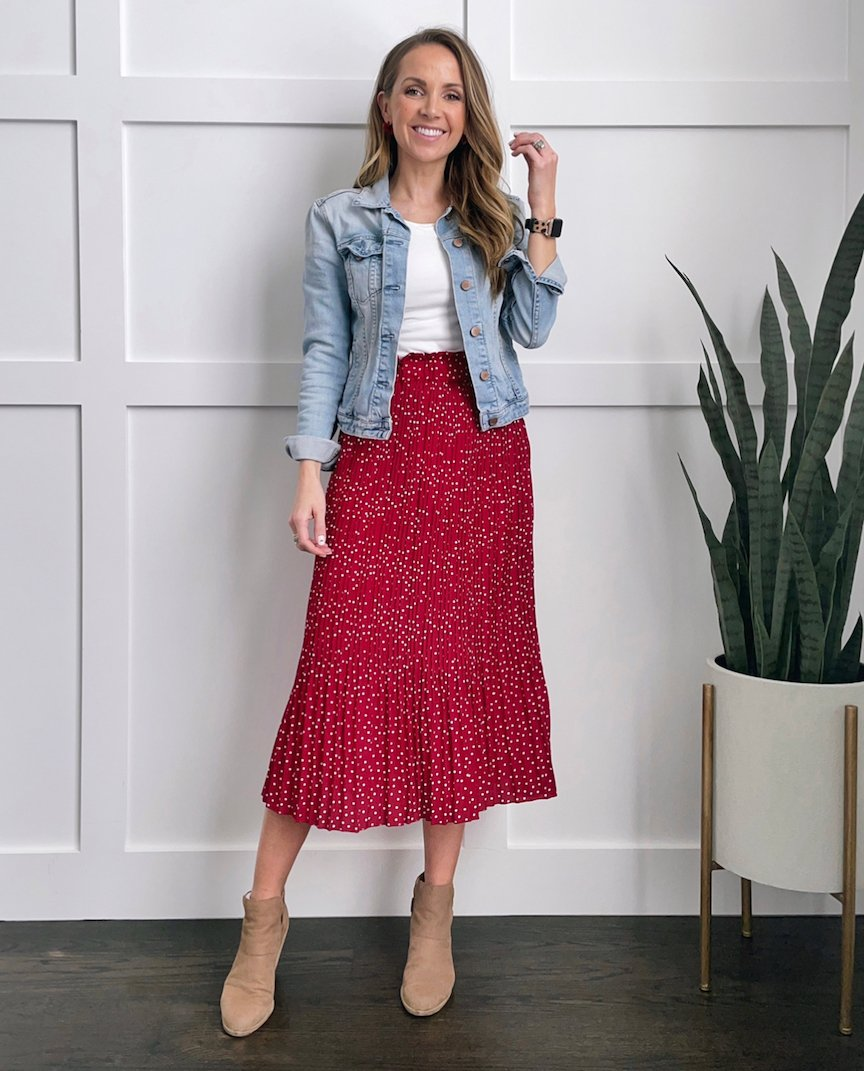 denim jacket red skirt