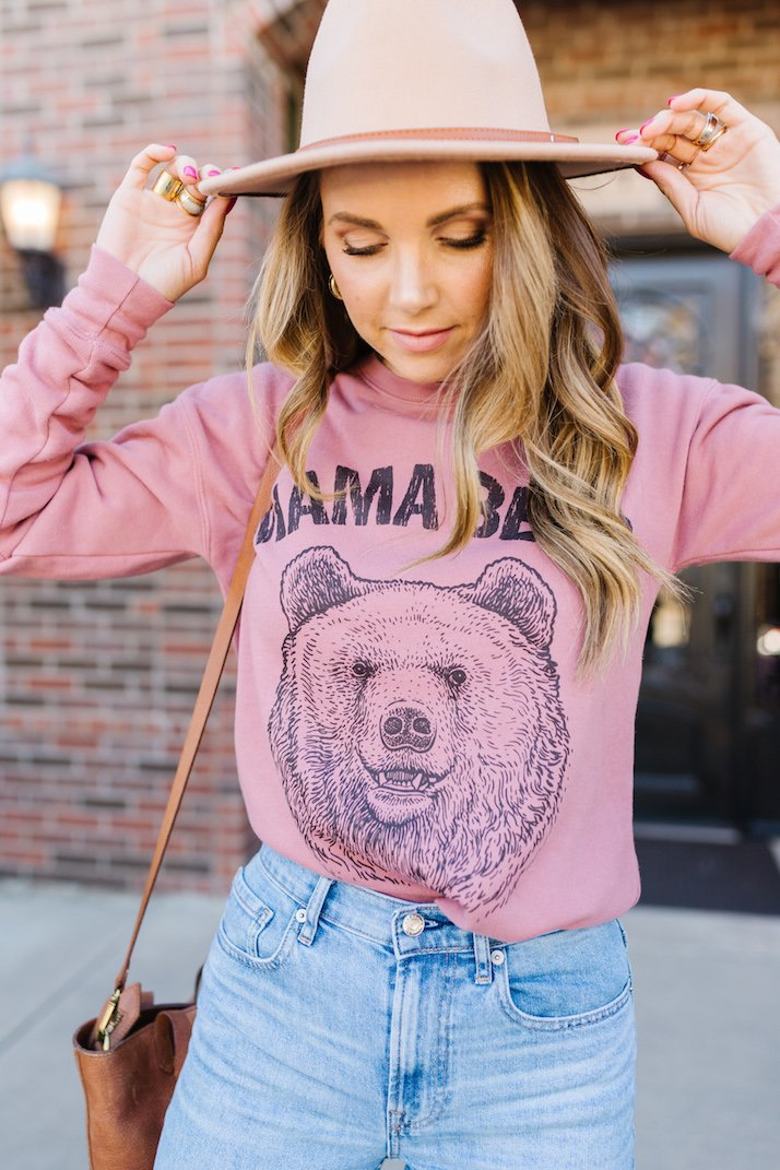 mama bear sweatshirt with jeans and hat