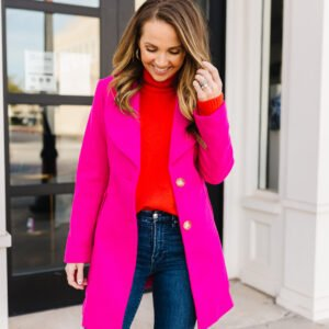 red sweater and pink coat