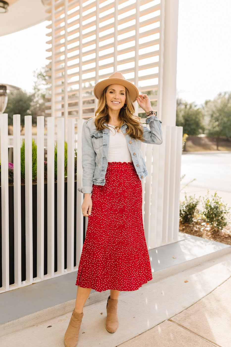 red midi skirt - valentine's day outfit idea