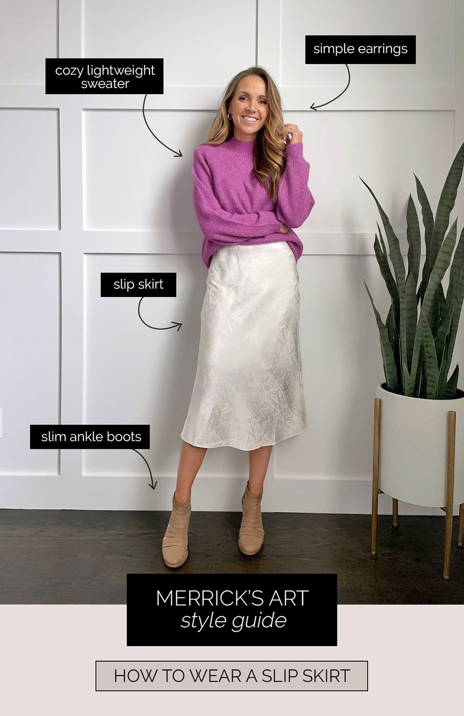 How to wear a slip skirt: sweater and boots