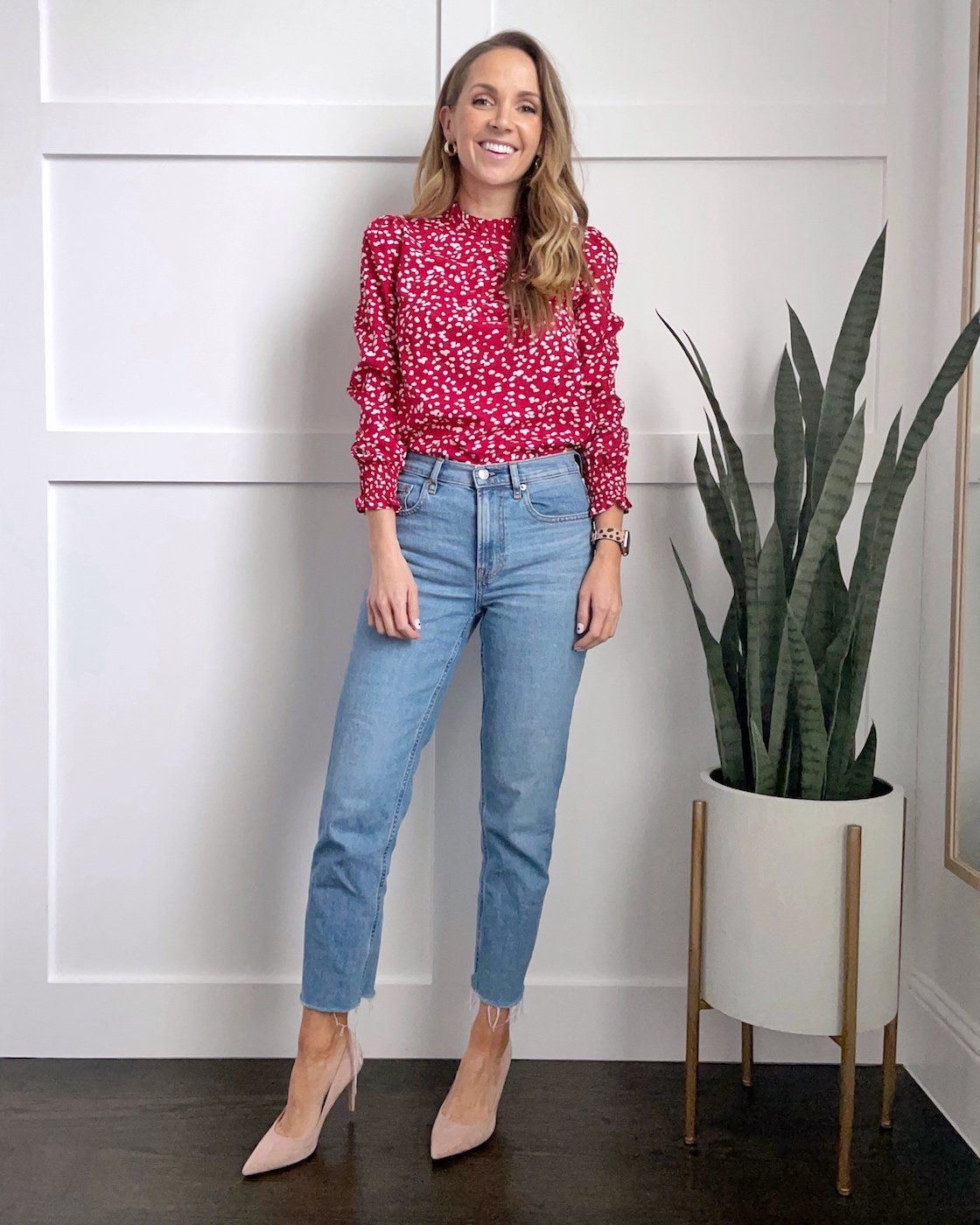 straight leg jeans with a blouse