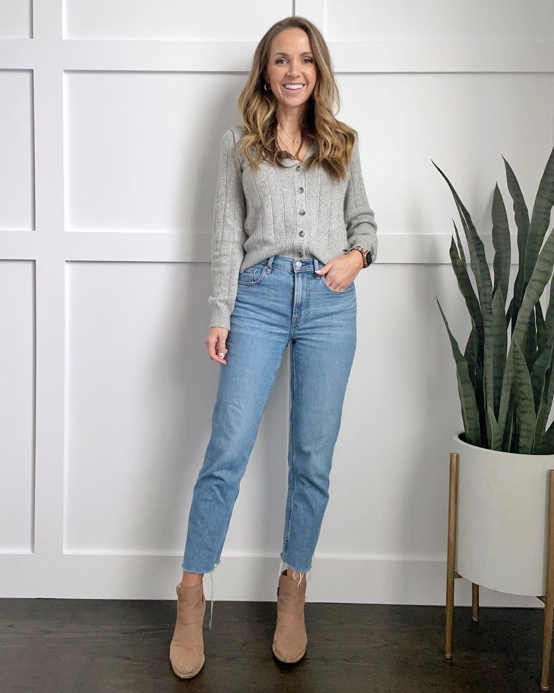 straight jeans with a sweater