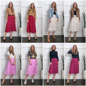 4 ways to wear pleated skirt outfits