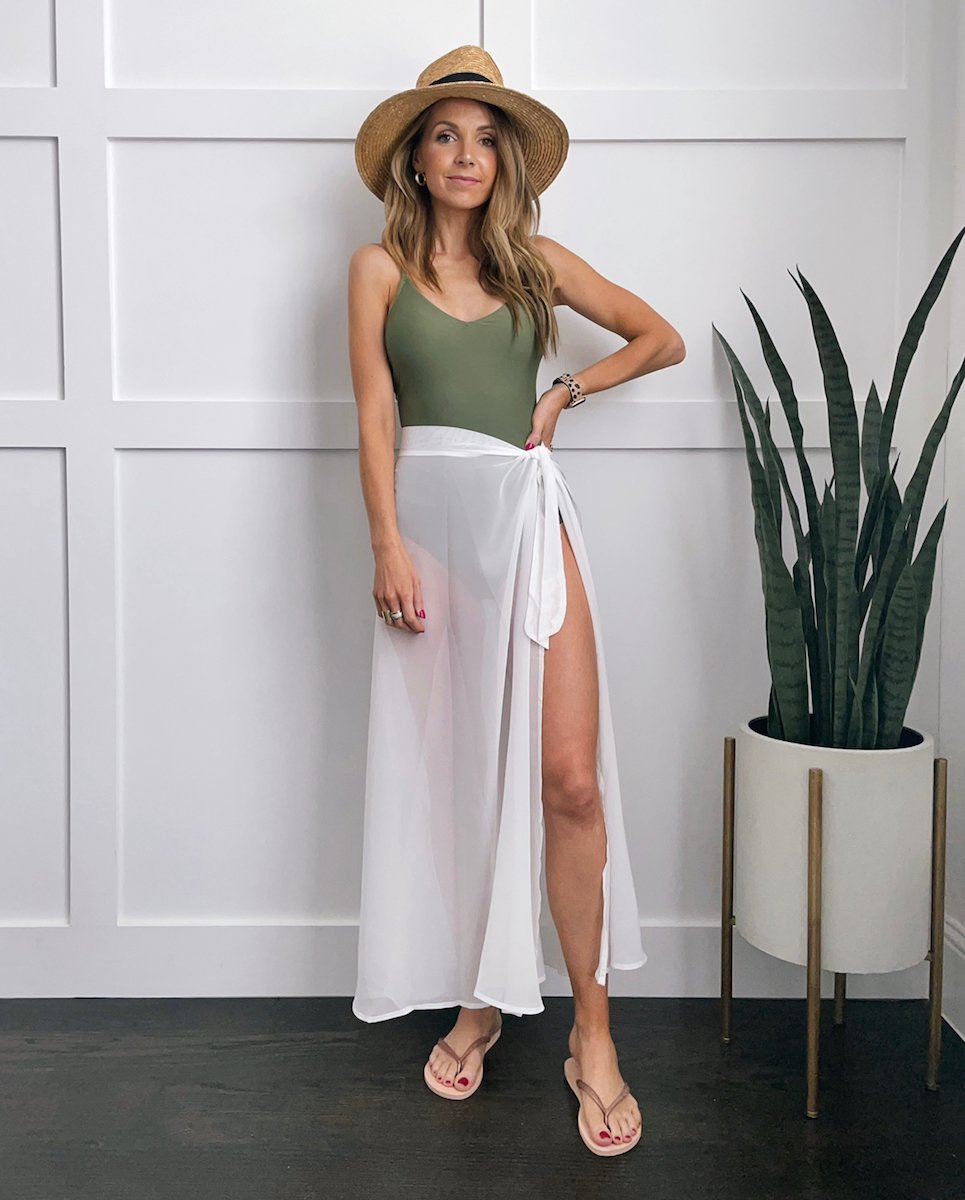 wrap skirt beach swimsuit coverup and green one piece swimsuit