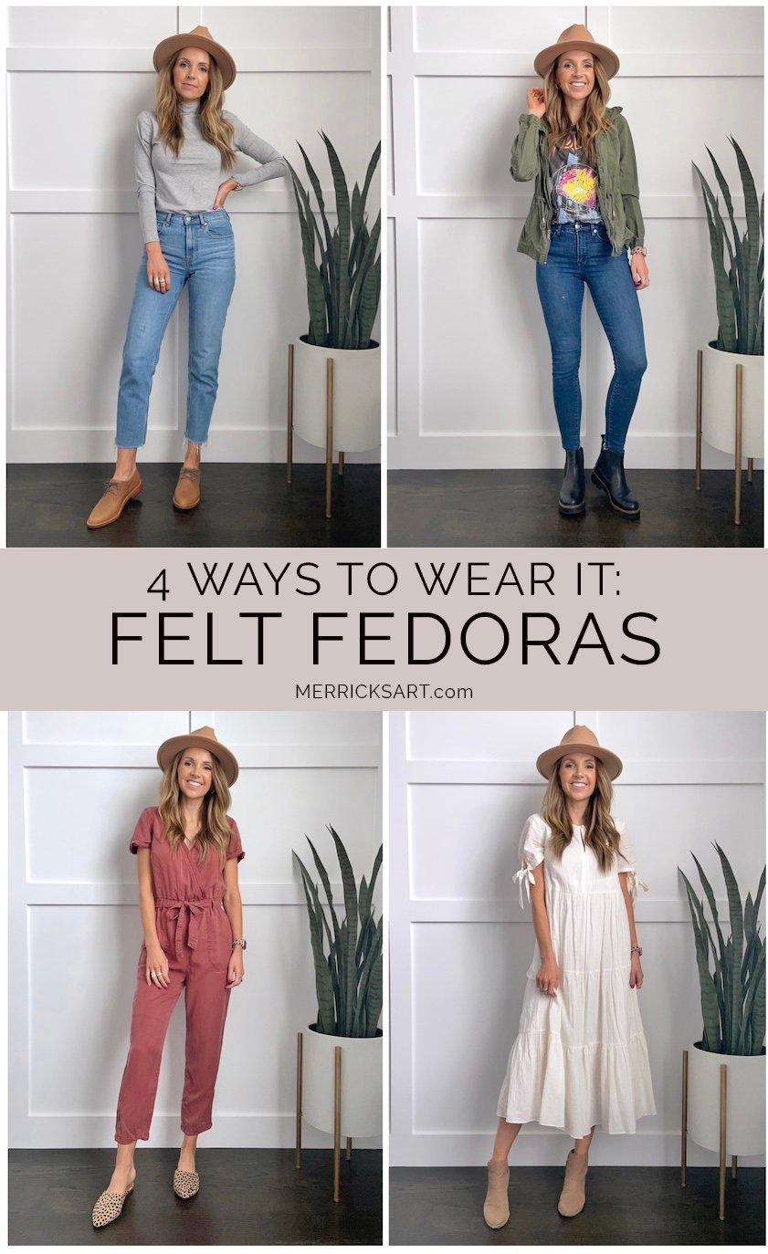 4 cute felt fedora outfits