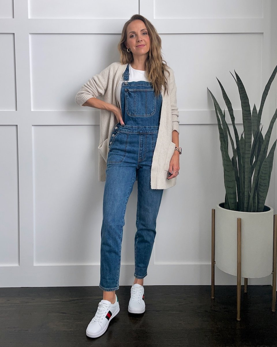 overalls with a cardigan