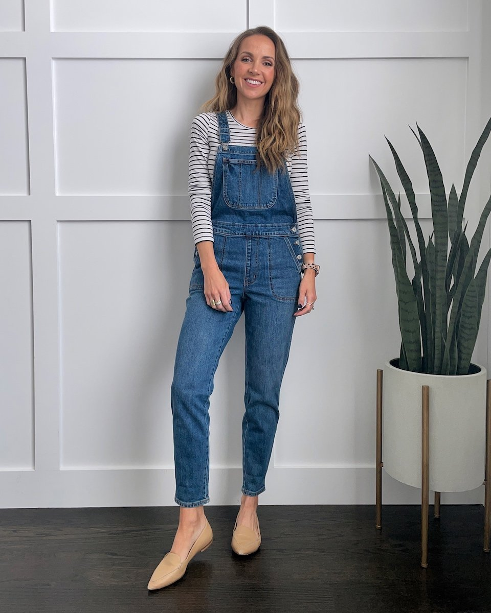 overalls with striped shirt