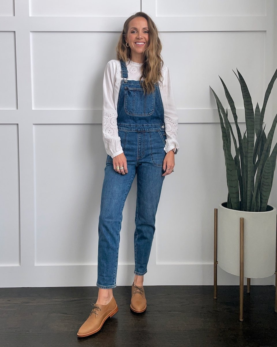 overalls with white eyelet shirt