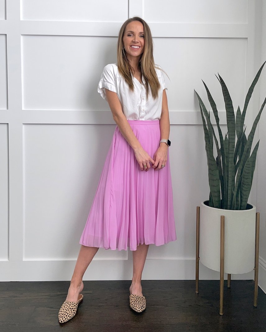 pink skirt lilac midi skirt with white blouse