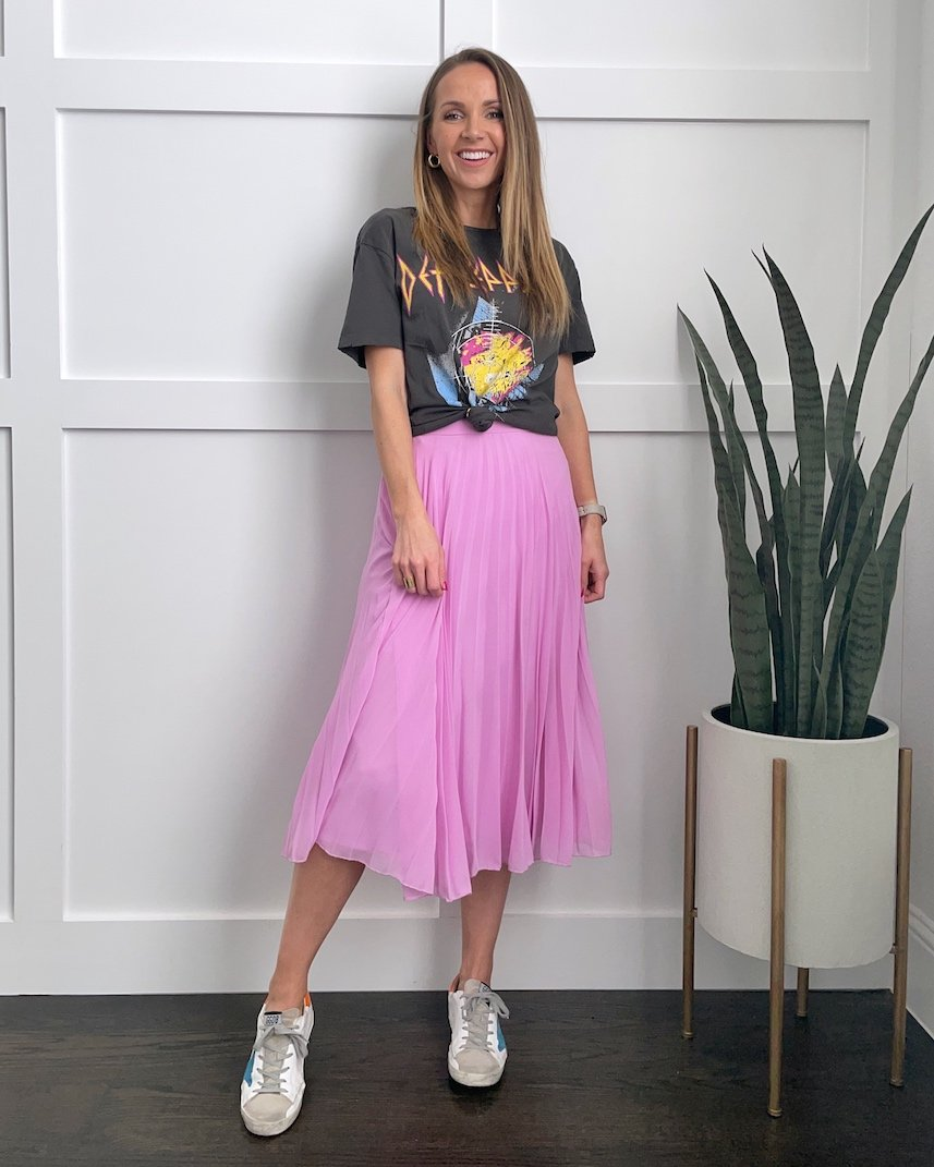 graphic tee with pleated midi skirt