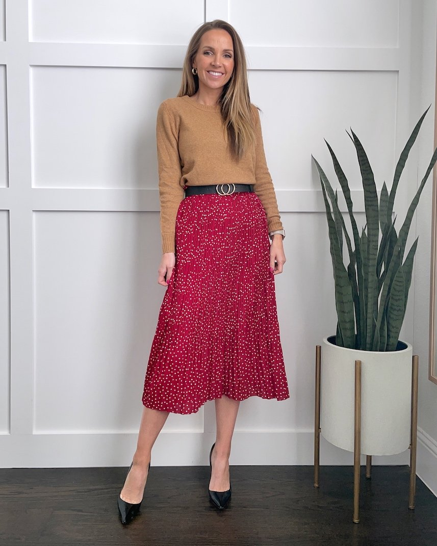 red midi pleated skirt outfit