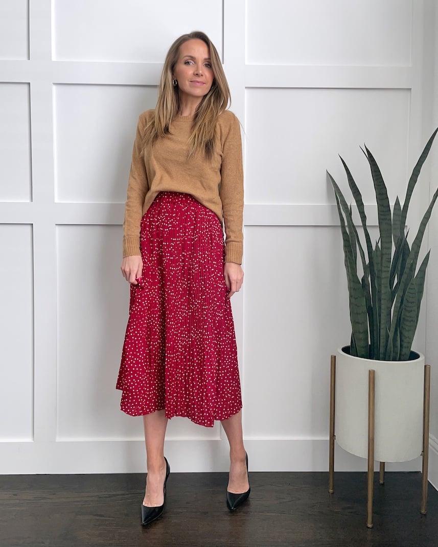 red midi skirt tan sweater