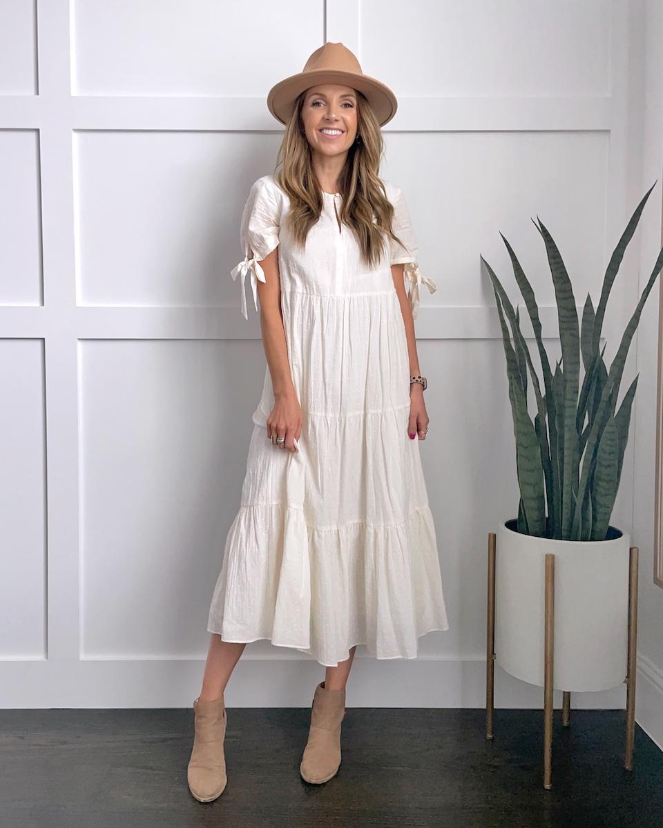 white maxi dress fedora hat