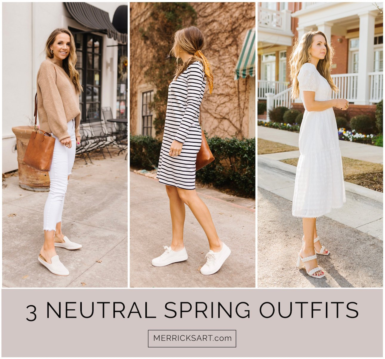 3 neutral spring outfits