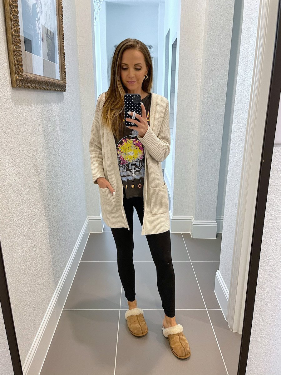 cardigan with graphic tee