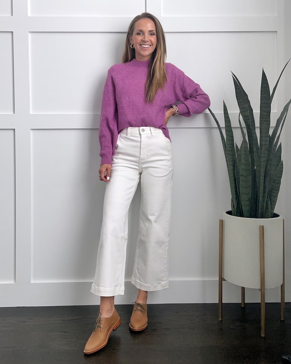 white cropped wide leg pants with purple sweater