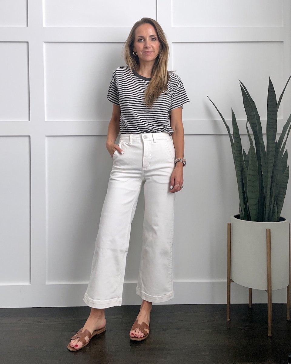 cropped wide leg pants with a t-shirt
