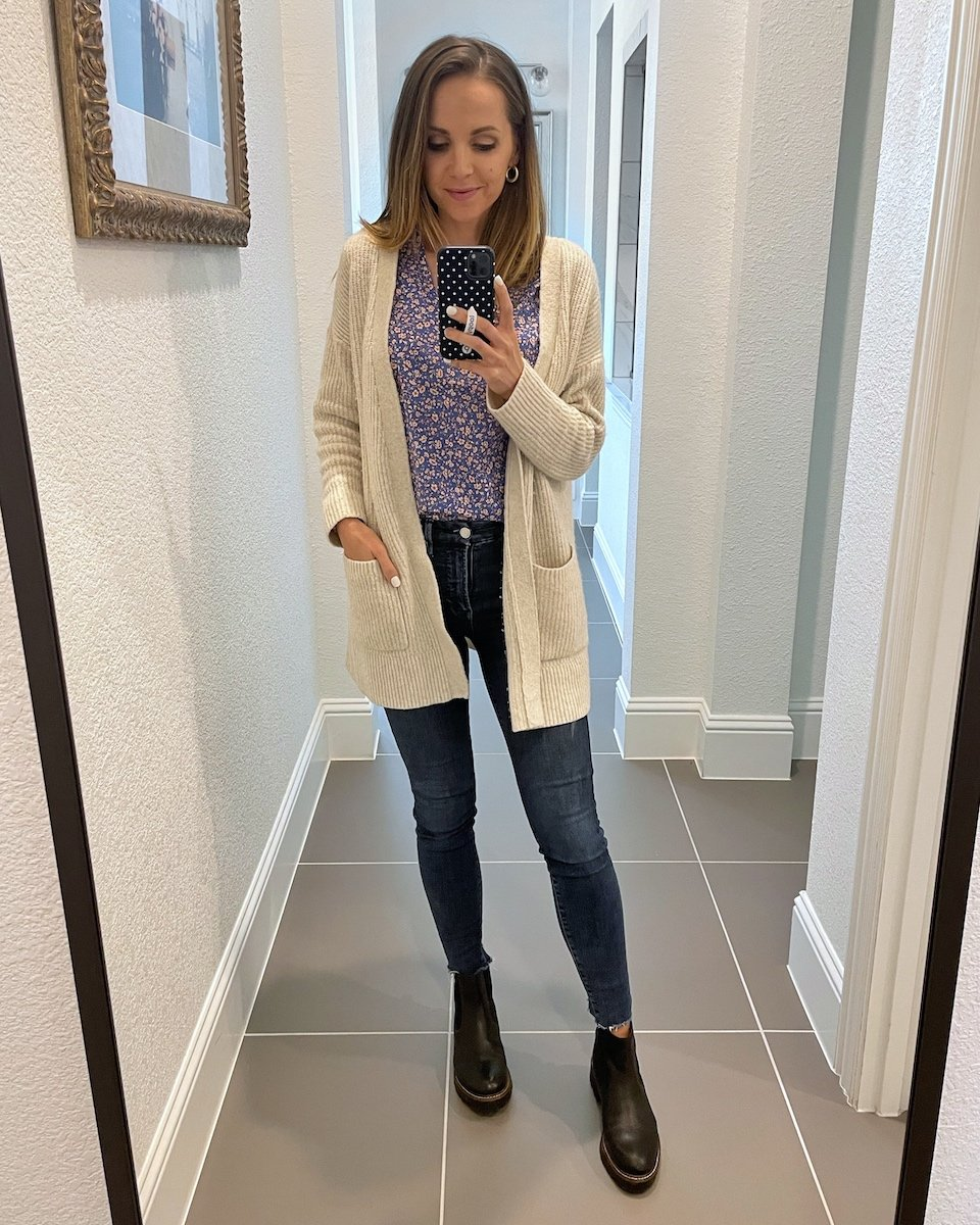 jeans with cardigan