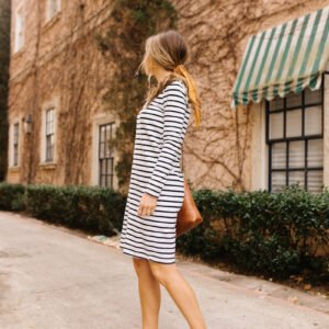 striped dress with white sneakers