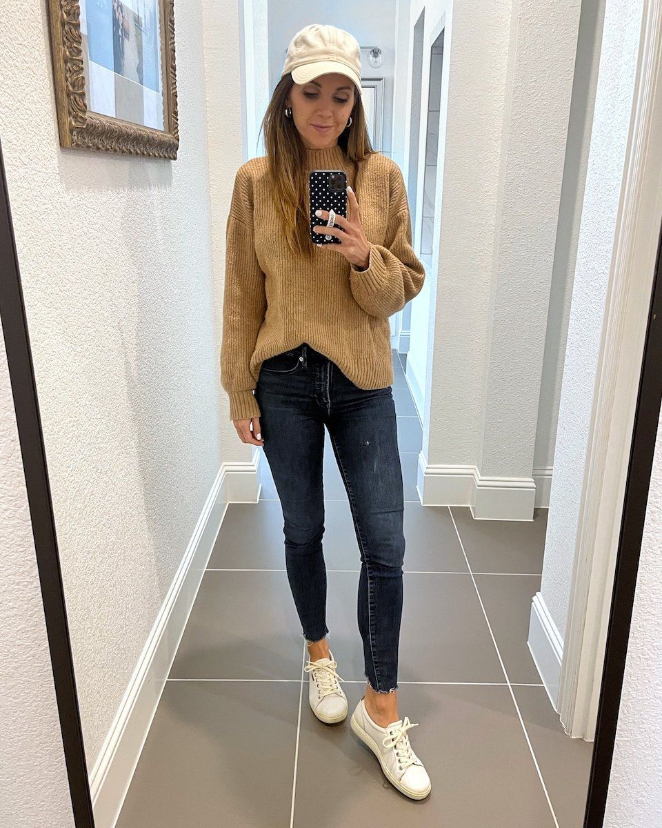 sweater with sneakers