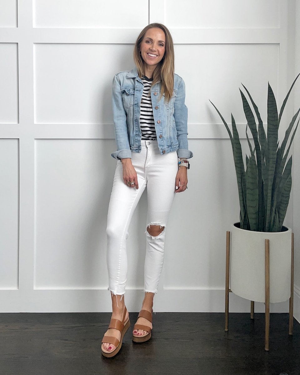 striped tees with white jeans and denim jackets