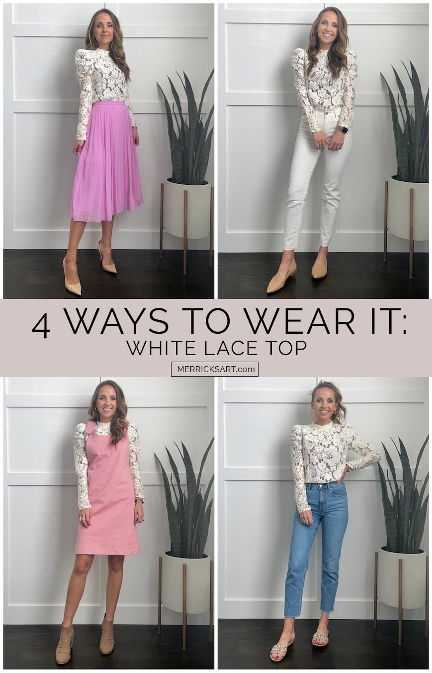 white lace top outfit ideas