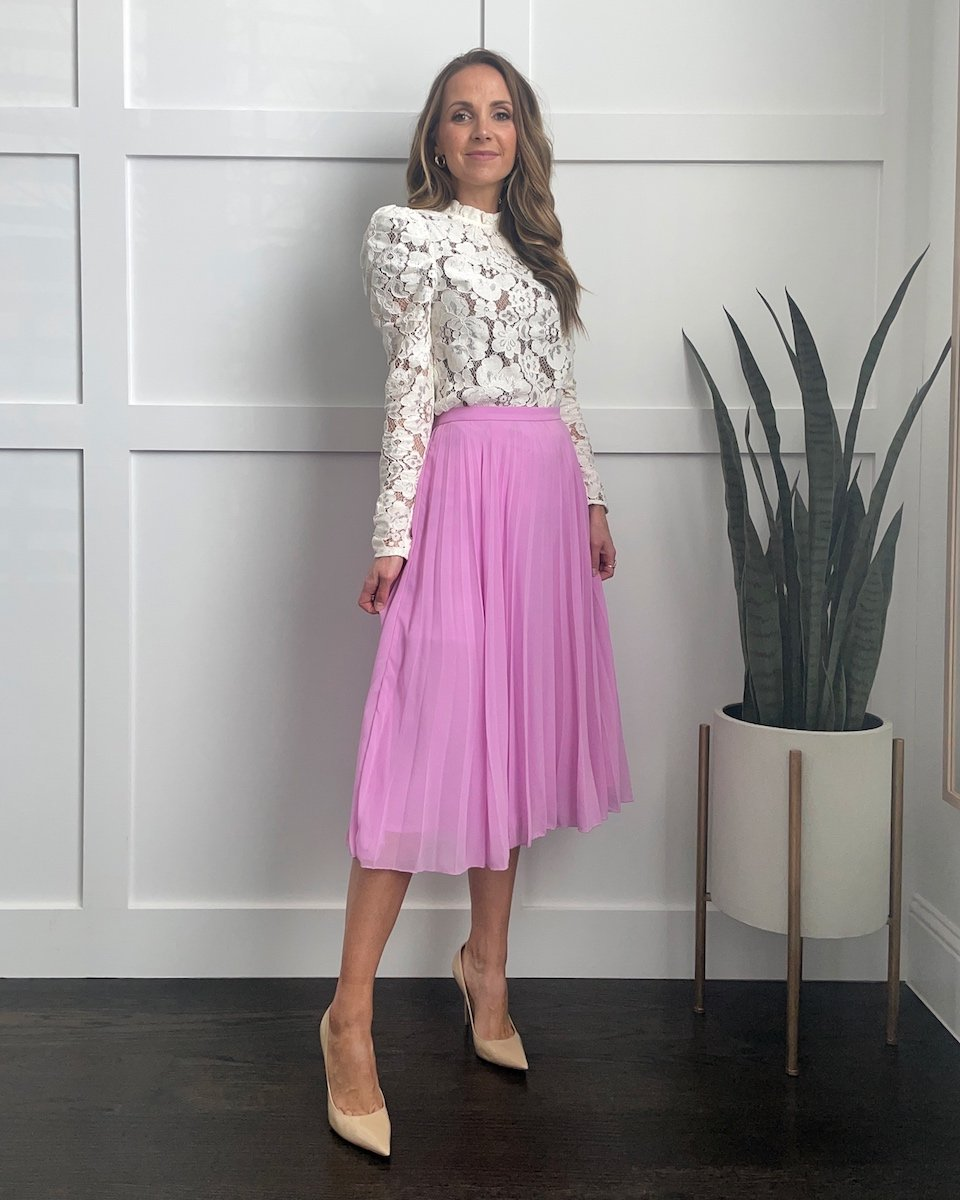 white lace top with pleated skirt