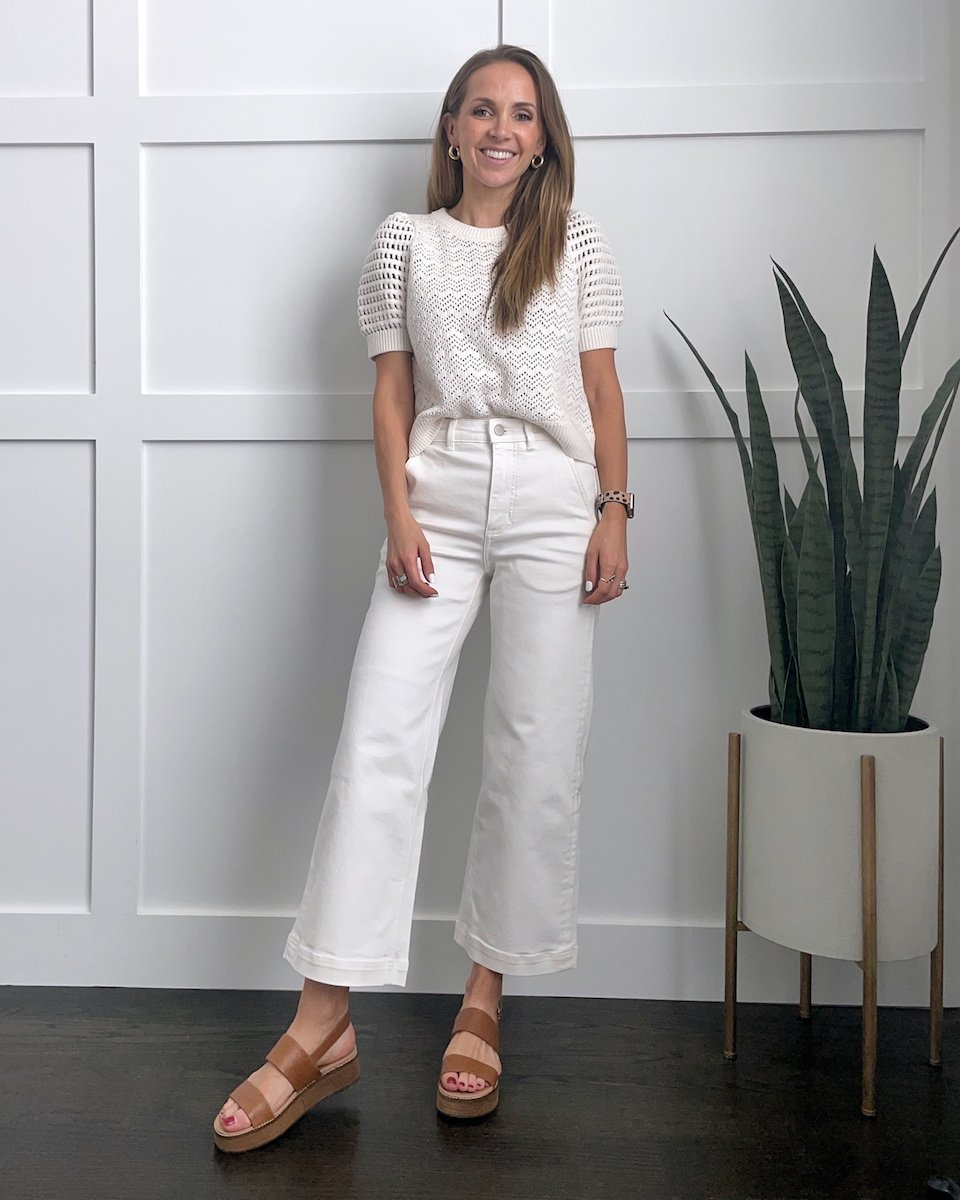 wide leg pants with short sleeve sweater