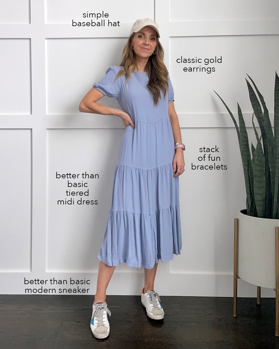 blue tiered dress with sneakers