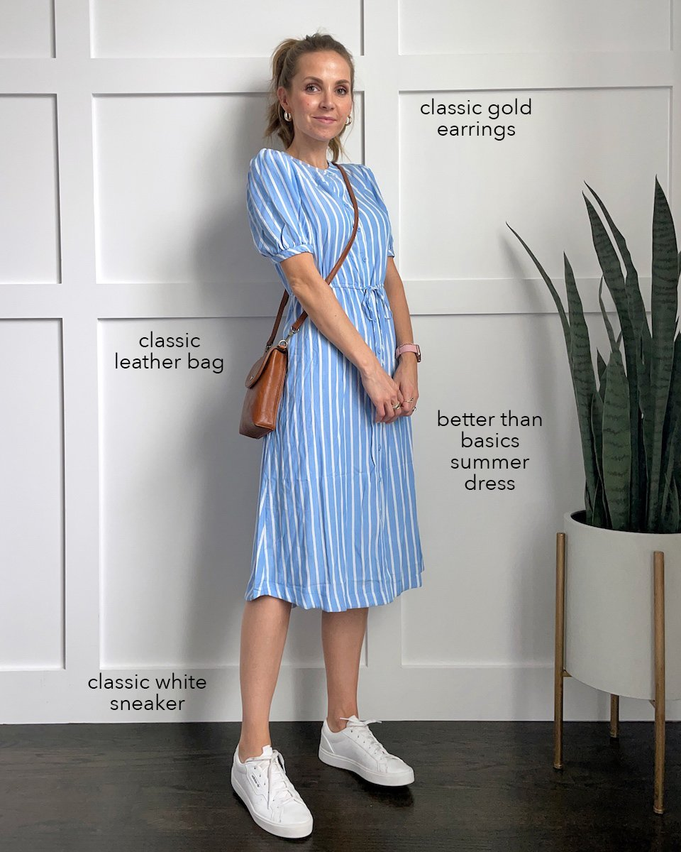 blue amazon dress with white sneakers
