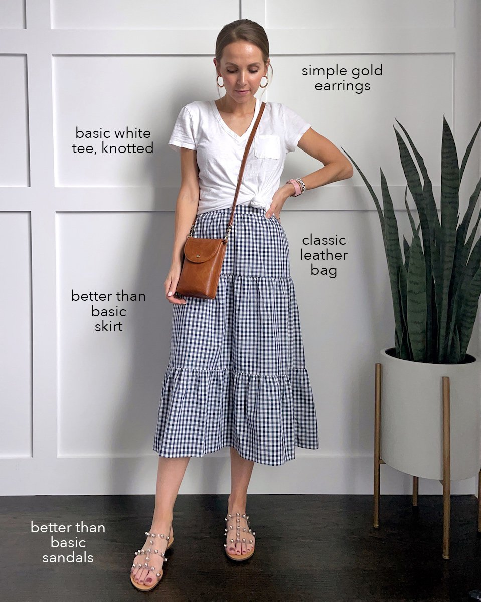 gingham skirt with white t-shirt