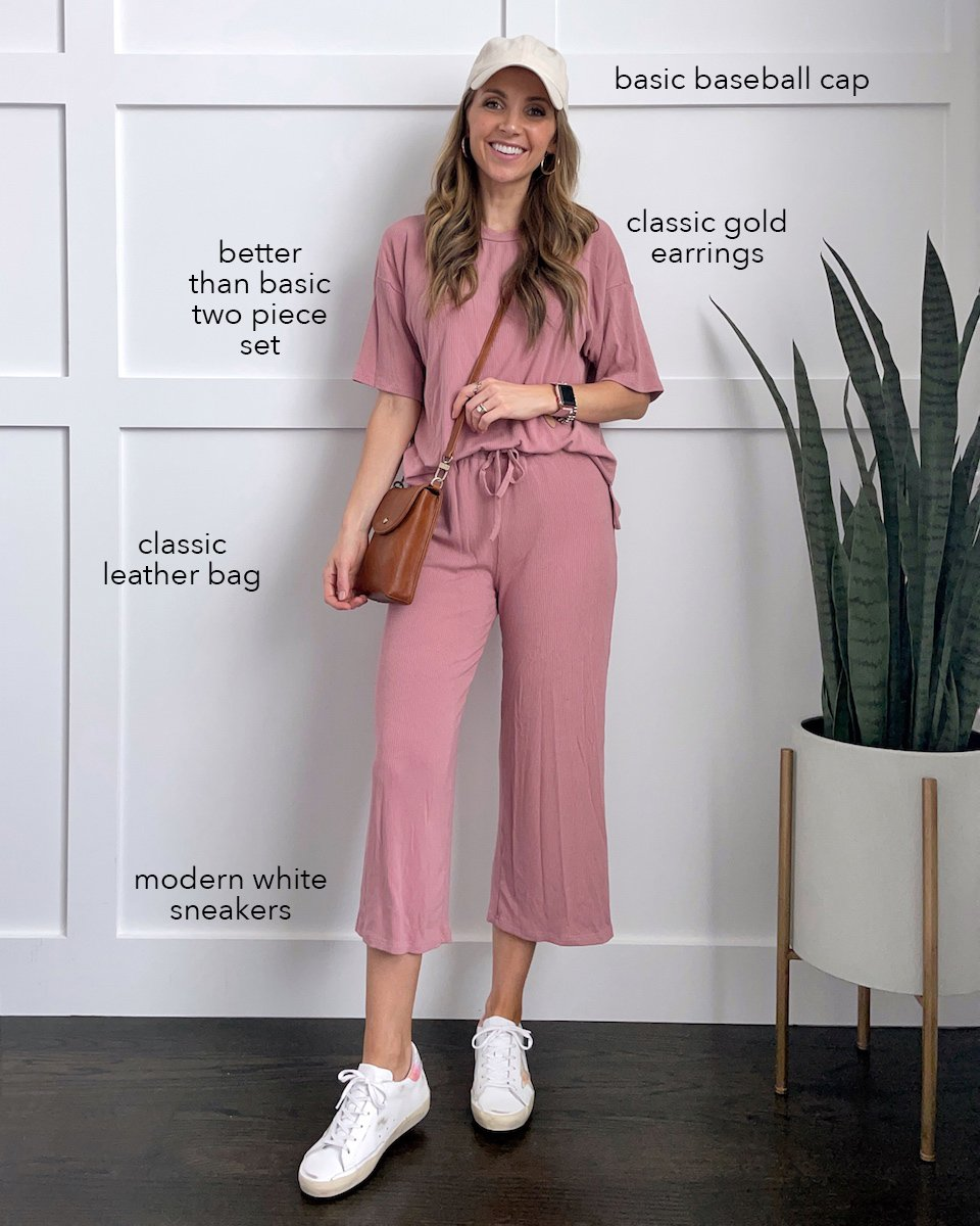 lounge set with sneakers and crossbody bag