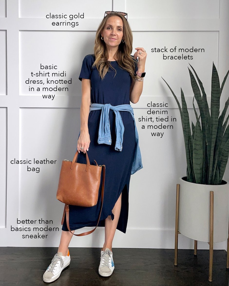 navy maxi dress amazon with chambray top around waist and golden goose sneakers