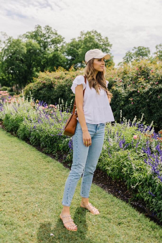 light wash jeans and white shirt