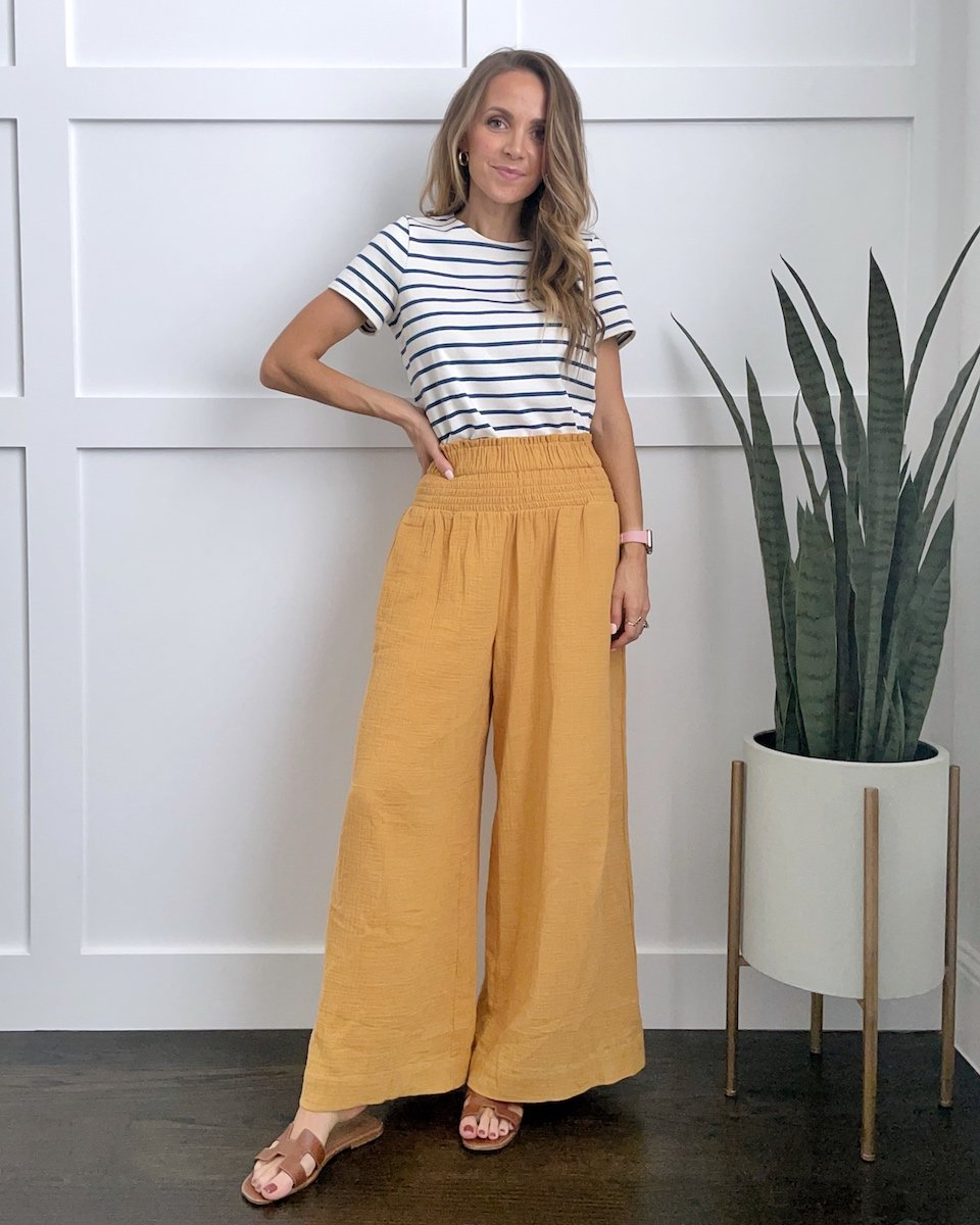 tucked shirt in wide leg pants