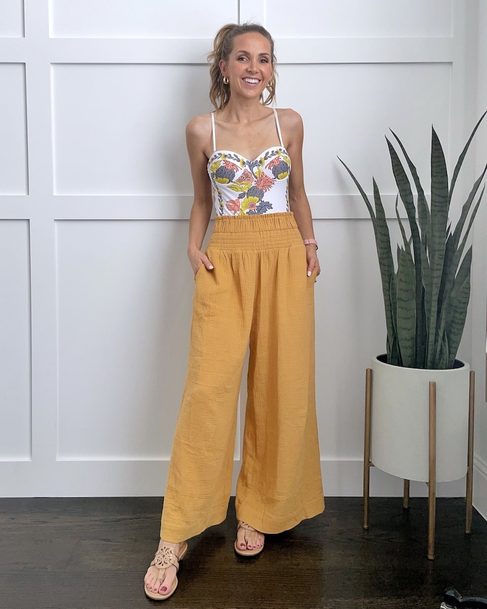 wide leg pants with swimsuit